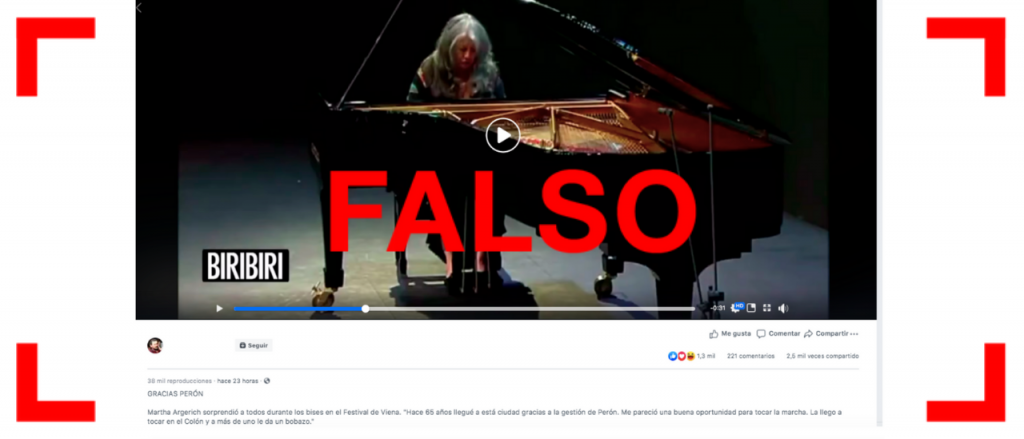 No, no es real este video de Martha Argerich tocando la marcha peronista